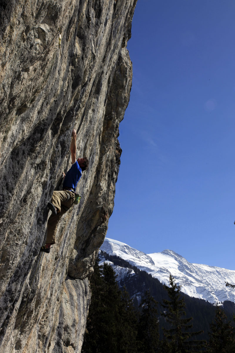 Jack Geldard climbing at the fantastic Bionassy, close to Chamonix. Photo by Charlotte Davies. This overhanging limestone cliff sports routes from 5 to 9a and also has a number of unclimbed bolted projects. It is in the sun from 1pm onwards.