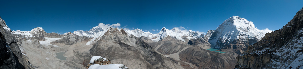 The view from our bivvy. Everest in the background, Chamlang's huge North Face on the right