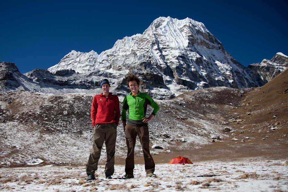 Myself and Rob Greenwood back at Base-camp a couple of days after our attempt on Peak 41. Spirits were high and we were ready to start the long walk home. Photo: Andy Houseman
