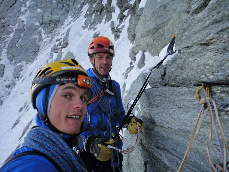 This is Rob 'Rocket Pants' Greenwood and I on the North Face of the Matterhorn. In the last few years Rob and I have formed a good solid climbing partnership and of course friendship, and have climbed many routes together. I really can't wait to get to Patagonia with Rob and see what we can do. Be that climbing or just drinking in El Chalten, with Rob around there is not going to be any dull moments!