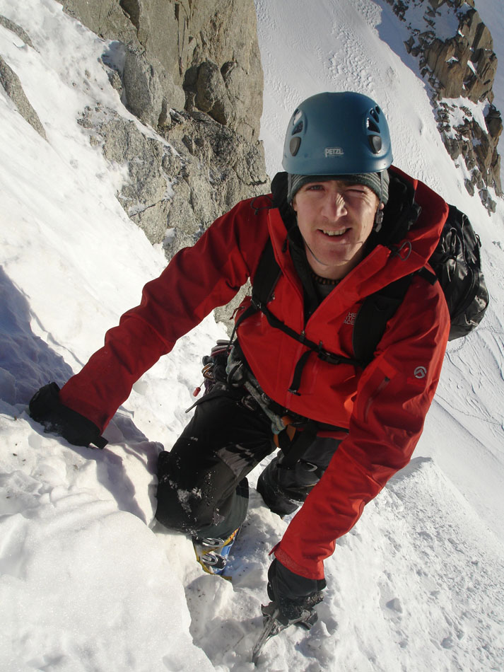 Adrian Jebb somewhere in the Mont Blanc Range. Aide has certainly been one of my main climbing partners and a few years ago we enjoyed a fun trip to the alps where I realised that in order to progress as an alpine climber, I really had to learn to ski, and ski well. Thanks for all the good times Aide!
