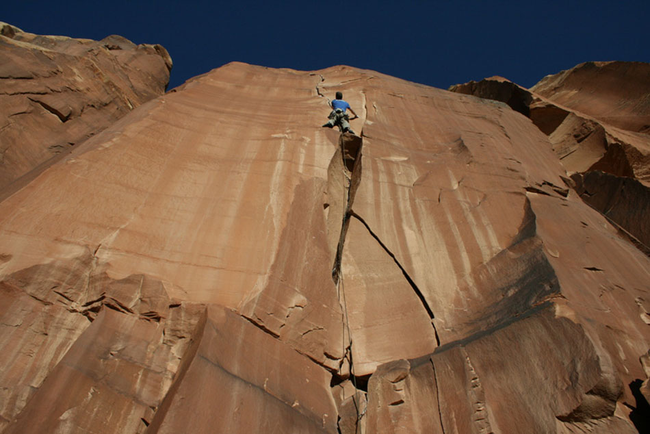 This is me climbing a 5.11 (I think) in Indian Creek, USA. This trip was part of a journalists meet that I was lucky enough to go on through my job at UKClimbing. Apart from some excellent desert rock climbing, this trip showed me that through my work as a climbing journalist I was being introduced to many inspirational people, and that in fact people all over the world read my articles. Scary!