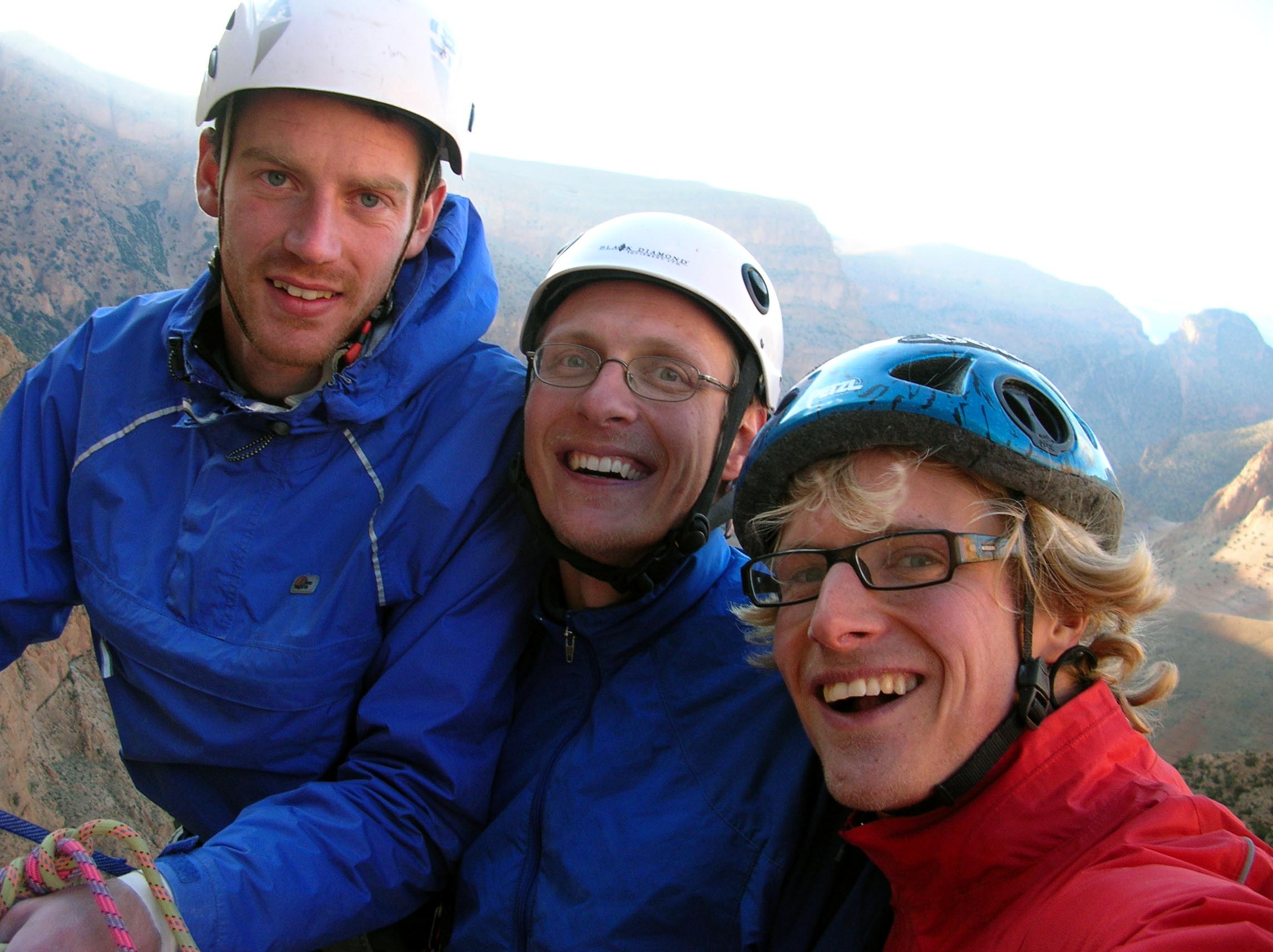 Myself, Juha Saatsi and Dave Pickford in Taghia, Morocco. This was a fantastic big wall sport climbing trip. The thing about these big wall 'sport routes' is that they are often really hard and a bit scary. I have certainly had to push myself much harder on this type of climbing than on some classic alpine north face routes such as the Eiger.