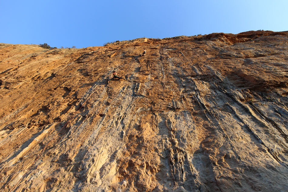 James McHaffie (centre) onsighting a 7c+ in Chulilla, Spain. What a cliff!