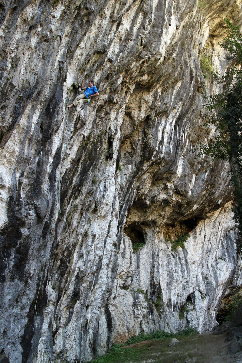 Me again! This time climbing steep sport at Balme de Yenne - enjoying the moves, not breaking any personal best barriers, and all without punching myself in the head. Photo by Heather Florence.