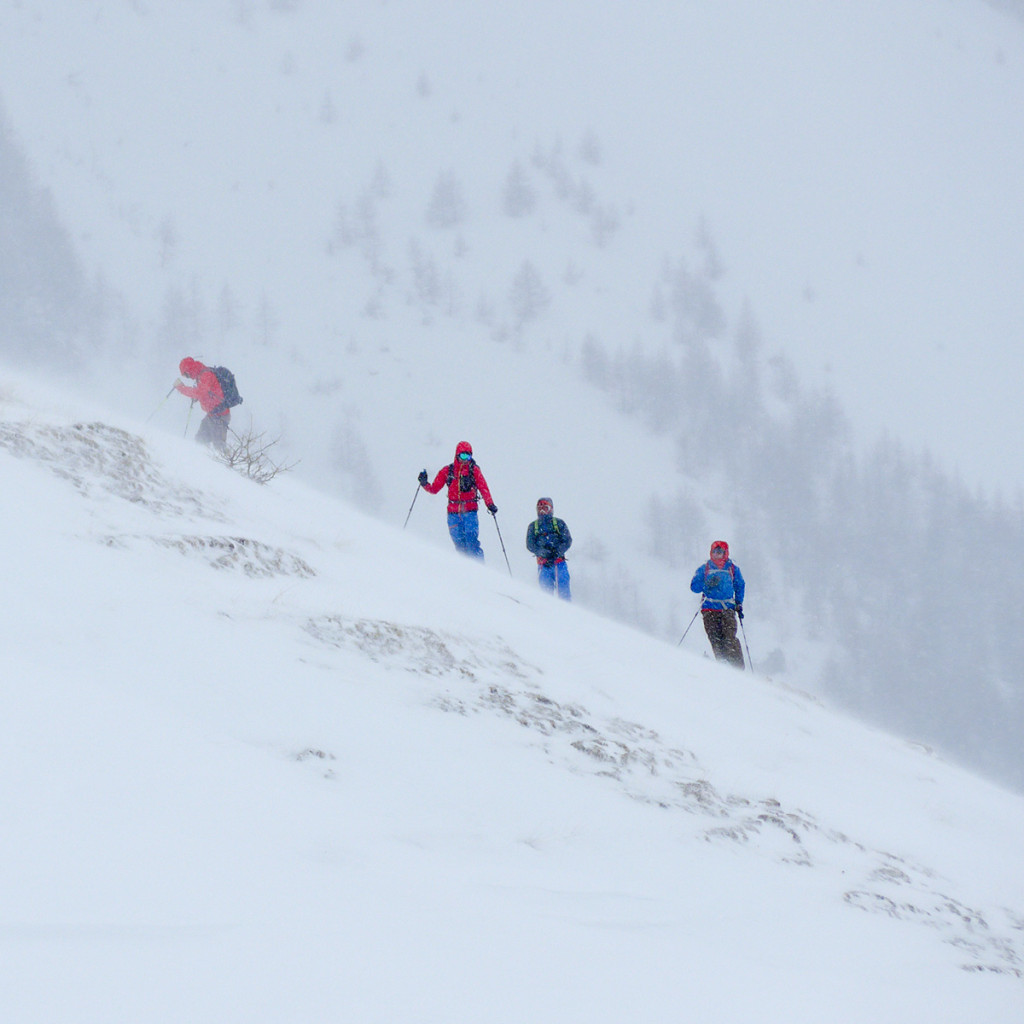 Rich Parker leading the way. This day we looked for safe terrain to follow whilst ski touring. Not easy with an Avalanche Forecast of Cat 4!