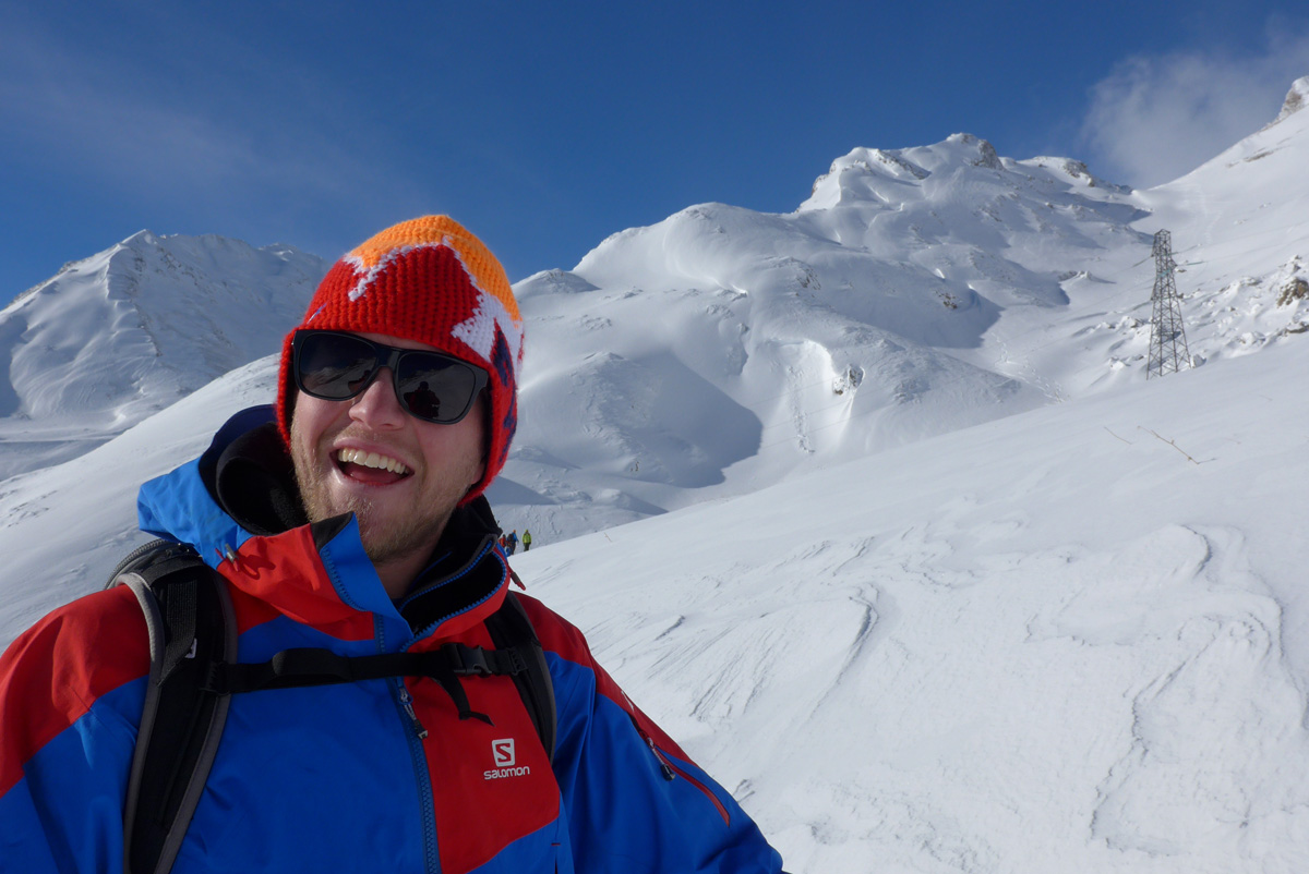 Dave Searle loving the ski induction!