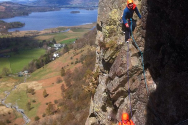 Ally Swinton in  mock guide role on the Borrowdale classic Troutdale Pinnacle.