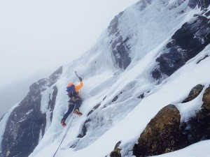 Me getting stuck in to some not very well stuck on ice on Ben Nevis!