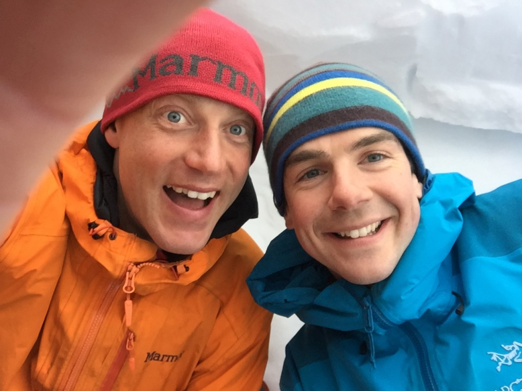 Myself and Guy in the snow hole, looking pretty fresh-faced on the first day of our test