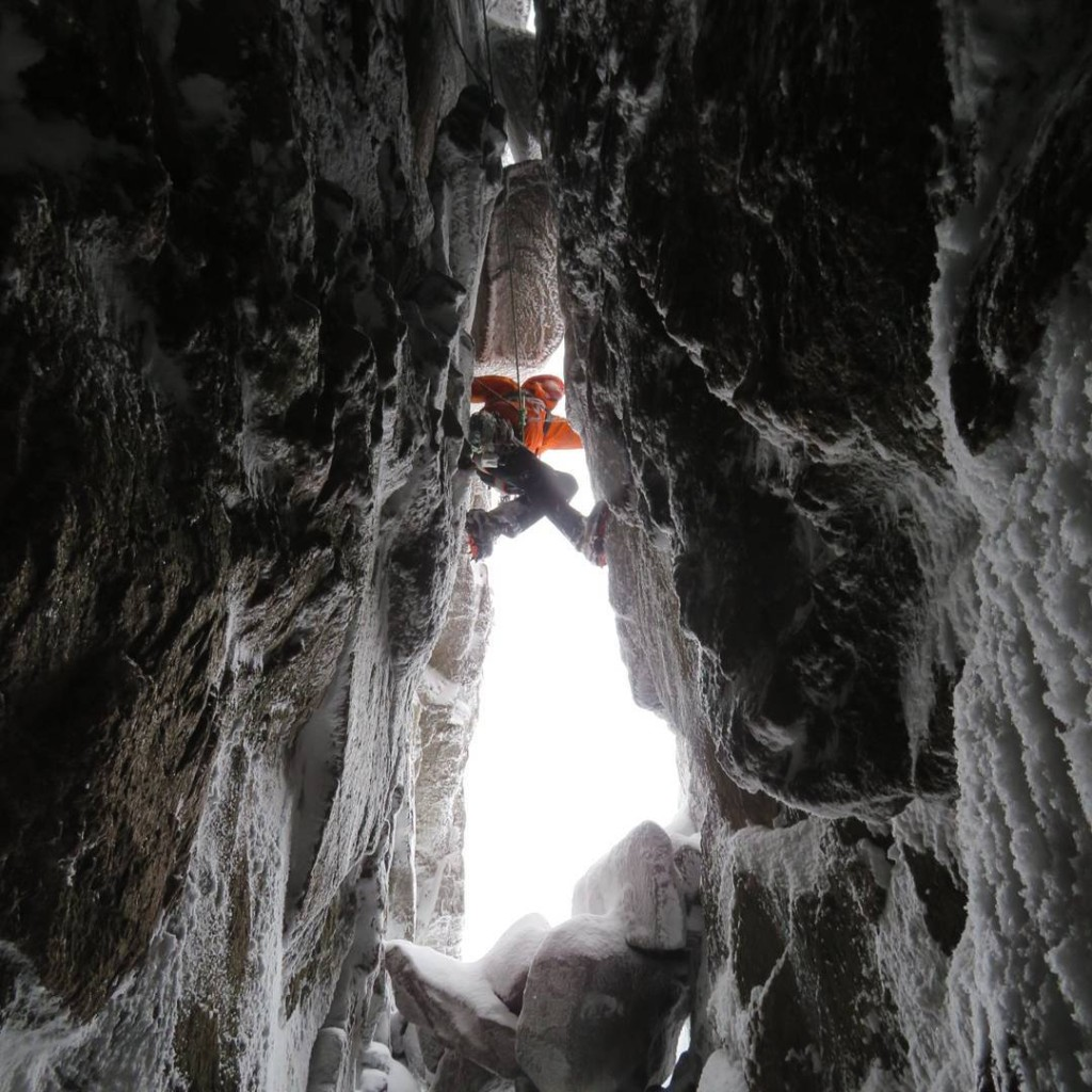 Jack on Deep Cut Chimney, Hell's Lum. Photo by Guy Steven